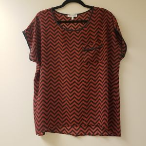 FAITH AND JOY Cheveron Print Red and Black Blouse